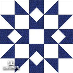 Design Inspiration for a Rocky Mountain Chain Quilt - alternate block. In this rendition, an alternate block is used that swaps the blue and white fabric placements in our original block.