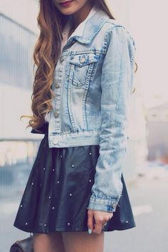 Jacket Jeans, High Waisted Skirt Black