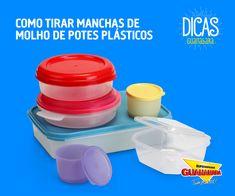 Tirar manchas de potes plásticos — Supermercados Guanabara