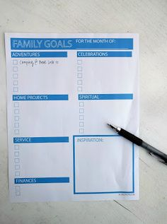 Monthly Family Goals free printable. I love how it's divided into categories!
