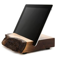Wood iPad stand- available in black walnut or maple/elm. C. Everett Block and his sons rescue imperfect pieces of Oregon hardwood, transforming them into modern device furniture.