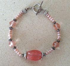 GlamRox Pretty Cherry Quartz and Freshwater Bracelet.