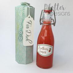 Plotterdatei Flaschenbox (2dl) von PlotterDesings Hot Sauce Bottles, 3d, Paper, Schnapps, Binder, Flasks, Packaging, Homemade, Tutorials