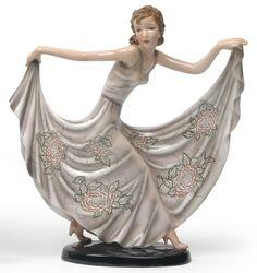 Stefan Dakon - А dancer - Arabella designed c. 1937, manufactured by Goldscheider, Vienna,model no. 7776/11, h.41cm.