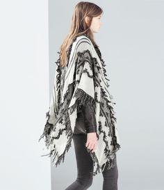 FRINGED JACQUARD PONCHO - Outerwear - WOMAN | ZARA United States