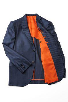 紺ストライプ+オレンジ裏地|オーダースーツのテーラーキタハラ