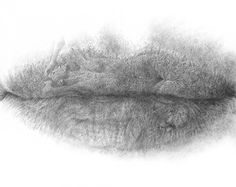 """Lips Series 10.15 - Unity silverpoint on paper, 26.0"""" x 39.8"""""""