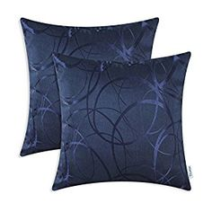 Amazon.com: Pack of 2 CaliTime Throw Pillow Covers 20 X 20 Inches Reversible, Modern Circles Rings, Navy: Home & Kitchen