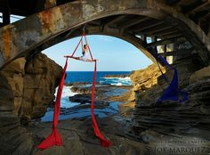 Hawaii aerialist, Ana, under a bridge. by The Smoking Camera, What a beautiful place to do silks. Aerial Acrobatics, Aerial Dance, Aerial Hoop, Aerial Arts, Aerial Silks, Aerial Gymnastics, Art Du Cirque, Aerial Costume, Silk Dancing