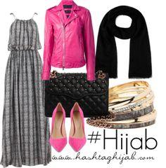 Grey printed dress, pink leather jacket, black scarf, pink shoes, gold and grey bracelets Islamic Fashion, Muslim Fashion, Hijab Fashion, Fashion Outfits, Hijab Casual, Hijab Chic, Hijab Outfit, Cute Modest Outfits, Modest Wear