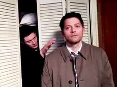 Here you seen Dean coming out of the closet...Surprising Castiel in the process. Then he goes back in. For shame.