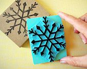 Snowflake stamp - two sizes - hand carved mounted stamp - christmas decor- winter decor