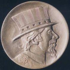 RON LANDIS HOBO NICKEL - UNCLE SAM - CARVING #170 - 1916p BUFFALO NICKEL