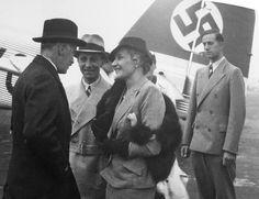 Joseph Goebbels, Magda Goebbels and Dr. Karl Brandt on the airfield.