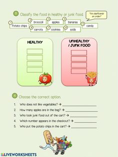 Video. listening comprehension worksheet Healthy Soda, Comprehension Worksheets, Potato Chips, Junk Food, Language, Drinks, Note Cards, Exercises, Drinking