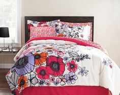 Amazon.com: Pink, Purple & Orange Flowers Full Comforter Set (8 Piece Bed In A Bag): Home & Kitchen