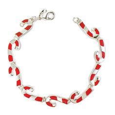 "Candy cane bracelet. A sweet style for the holidays. 7 1/4"" L with 1"" extender. Silvertone."