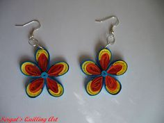 Quilled Gold/Blue and Red Earrings -by: Sergal's quilling art: Ultimele proiecte