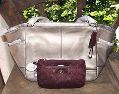 Auth Coach Park Leather Carrie Tote Silver Pewter F23284 Metallic Wristlet   eBay