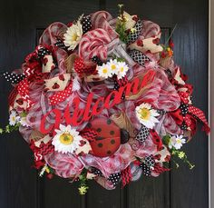 Ladybug wreath, Welcome Ladybug deco mesh wreath, everyday wreath, ladybug deco mesh, wreath, front door wreath, red, black and white wreath - pinned by pin4etsy.com