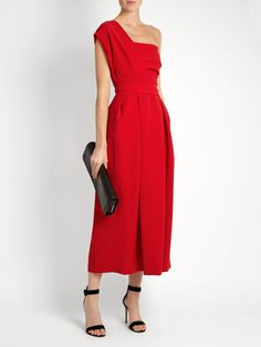 Ace one-shoulder pleated stretch-cady midi dress | Preen By Thornton Bregazzi | MATCHESFASHION.COM UK