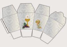 Primera Comunión: Cajas con Diseño en Plateado y Ángeles de Precious Moment para Imprimir Gratis.   Oh My Primera Comunión!