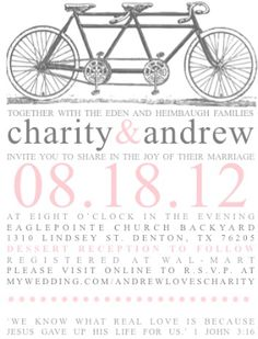 wedding   tandem bike invitation