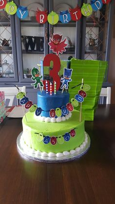 PJ masks birthday cake Perfect for Noahs Bday Third Birthday, 4th Birthday Parties, Birthday Bash, Birthday Celebration, Birthday Ideas, Pjmask Party, Party Ideas, Pj Masks Birthday Cake, Festa Pj Masks