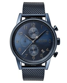 1ee9e0d33 Boss Hugo Boss Men's Chronograph Navigator Blue Stainless Steel Mesh  Bracelet Watch 44mm - Blue Camisa