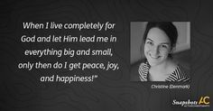 """""""I have caught myself doing a lot of things just because it looks good and I want other people to have a good opinion of me. That just brings me restlessness. When I live completely for God and led Him lead me in everything big and small, only then do I get peace, joy, and happiness!"""" Christine (Denmark)  Want to read more encouraging testimonies? Check out our instagram account: https://www.instagram.com/ac_christian_snapshots/?hl=en  or visit our website here…"""