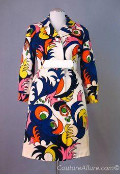 Michael Novarese pop art coat from Couture Allure. Retro Fashion 60s, Quirky Fashion, Mod Fashion, Vintage Fashion, Vestidos Vintage, Vintage Dresses, Vintage Outfits, 1960s Dresses, Vintage Clothing