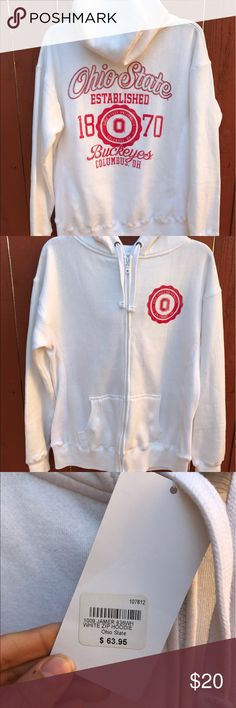 Ohio state white zip hoodie NWT New with tags. Never worn. White Ohio State hoodie hooded sweatshirt. Super soft inside. Tops Sweatshirts & Hoodies