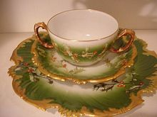 Exceptional Limoges 3 Piece Holly and Berry Set