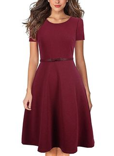 ... Dresses Sexy Off Shoulder  good looking 11af5 d3dc0 Yucharmyi Womens  Comfy Swing Tunic Short Sleeve Solid ALine Dress Scoop Neck ... a507622b2a85