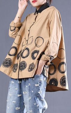 Loose Khaki Dotted Clothes For Women Lapel Patchwork Shirt Long Sleeve Tops, Autumn Tops, Linen Tops, Kimono Top, Clothes For Women, My Style, Kaftan, Loose Fit, Womens Fashion