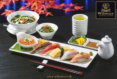 СULINARY TRAVELS WITH WILMAX. JAPAN. Japanese cuisine cannot be imagined without sushi.   Sushi is traditionally served with wasabi, gari (pickled ginger) and soy sauce poured in sophisticated soy bottle.   You can use WILMAX rectangular dishes to create your beautiful sushi setting. And a portion of caviar on a small porcelain plate will add extra zing to your dining.