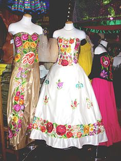 Beautiful Embroidered Wedding dresses seen inside a shop at Olvera Street, CA.