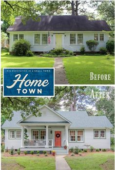 "The Polk House: Giving a Small Southern House a New Porch. Home Town HGTV Polk House Before and After. On HGTV's ""Home Town,"" hosts Ben and Erin Napier gave the small white ""Polk House"" the Southern charm their client craved by adding a new porch. Home Exterior Makeover, Exterior Remodel, Exterior Doors, Exterior Paint, Exterior Design, Renovation Facade, Small House Renovation, Front Porch Addition, Front Porch Design"