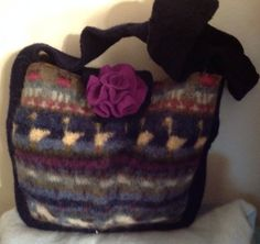 Wool felt tote bag purse colorful felted by mcleodhandcraftgifts,