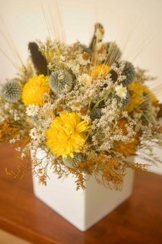 Echinops and strawflower arrangement blue by TheBlaithinBlairShop