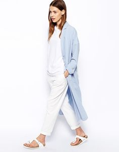 Its on sale now ladies!! only $56.85 at Asos longline duster jacket, soft silky trench coat in pastel blue. (Kylie Jenner also owns a coat very similar to this one.)
