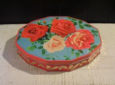 Stunning Red Pink Roses, Vintage Tin Box, Candy Tin, Blue Box, Cottage Chic, Floral Flower Art, 12 Sided Box