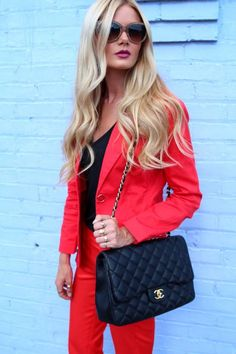 Red pants suit - Spiegel Look 1 by Barefoot Blonde at KG Street Style
