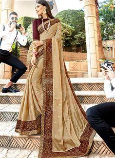Beige Embroidered Georgette Classic Saree Tussar Silk Saree, Art Silk Sarees, Silk Sarees Online, Chiffon Saree, Celebrity Gowns, Plain Saree, Trendy Sarees, Saree Look, Work Sarees