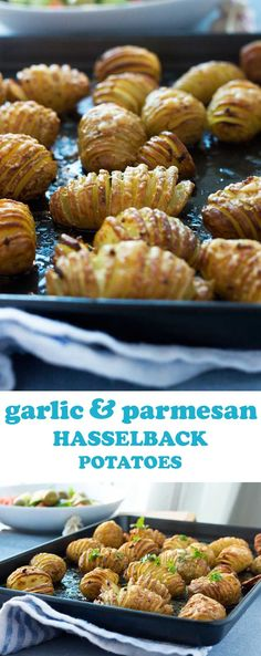 Then these garlic & parmesan hasselback potatoes are defin… Love crispy potatoes? Then these garlic & parmesan hasselback potatoes are definitely for you! Batatas Hasselback, Hasselback Potatoes, Crispy Potatoes, Garlic Parmesan Potatoes, Roasted Potatoes, Hasselback Chicken, Potato Dishes, Food Dishes, Vegetable Dishes