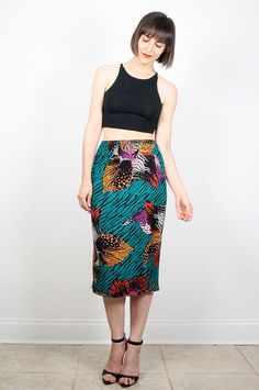 Vintage 80s Skirt Midi Skirt Bright Teal Green Mustard Gold Pink Leaf Print Knee Length Skirt Pencil Skirt High Waisted Boho M Medium L by ShopTwitchVintage #vintage #etsy #80s #1980s #skirt #midiskirt #pencilskirt #floral
