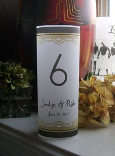 Art Deco Vellum Luminarie Table Numbers Wedding by paperpixie
