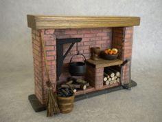 DollsHouse Fireplace - Red Brick Colonial / Tudor / Medieval / Cottage