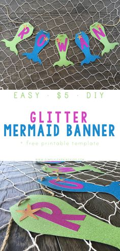 DIY Glitter Mermaid Banner - A simple DIY project that only costs $5!