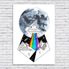 Excited to share the latest addition to my #etsy shop: UFO Flying Saucer Full Moon Mountains Trippy Rainbow Original Art Illustration Wall Print Poster http://etsy.me/2Ea5a9q #art #print #digital #watercolour #watercolor #wallart #ufo #alien #rainbow